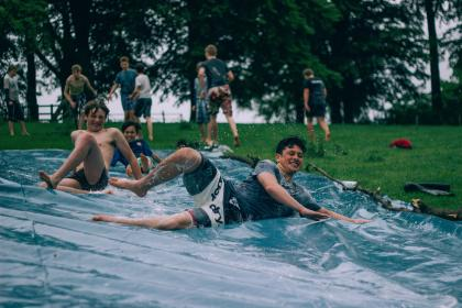 water, slide, people, guys, men, friends, group, party, fun, millenials