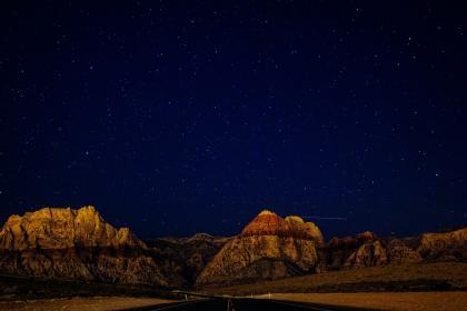 rural, road, canyons, cliffs, mountains, landscape, mountains, hills, field, sky, stars, night, evening, galaxy, space