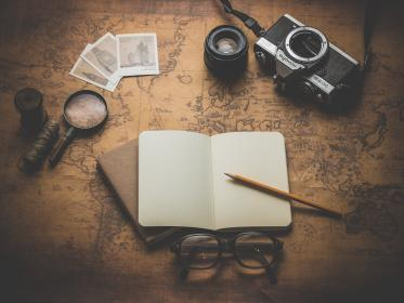 notepad, notebook, pencil, eyeglasses, magnifying glass, map, world, navigation, objects, camera, lens, photos, pictures, business