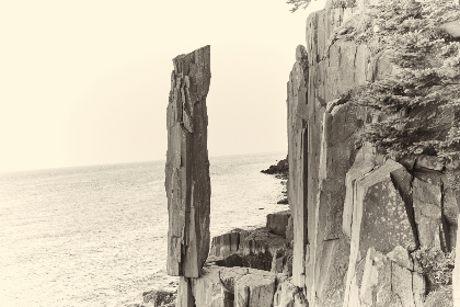 coastal,  rocky,  cliff,  rock,  shore,  ocean,  sea,  stone,  coastline,  nature,  sepia,  landmark,  water,  sky