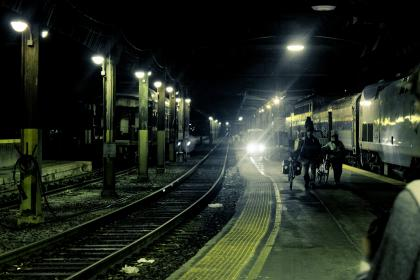 city, railway, rail, train, station, pattern, perspective, tracks, industrial, metro, travel, transportation, lines, light, ceiling, people, bicycles