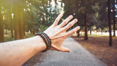 bracelet,  forest,  golden yellow,  green,  guy,  hand,  large,  outdoors,  summer,  sun,  bright,  touch,  trees,  pov, trees, forest, woods, park, path, sunlight, sunshine, sun rays, grab