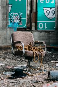 still, items, things, ruined, broken, office, chair, rope, warehouse, soil, rocks, fedora, waste, trash, crime, scene