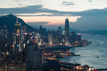 hong kong,  city,  aerial,  night,  lights,  towers,  skyscrapers,  buildings,  urban,  downtown,  ocean,  water,  harbor,  busy,  landscape,  sky,  clouds