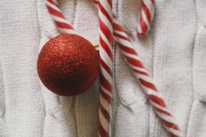 christmas, day, red, ball, polkagris, candy, cane, sweet, decor, ornament