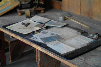wooden, table, papers, eyeglasses, study, office, works