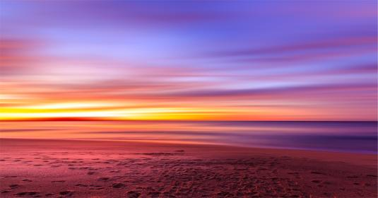 sunset, purple, sky, beach, sand, footprints, shore, water, ocean, sea, horizon