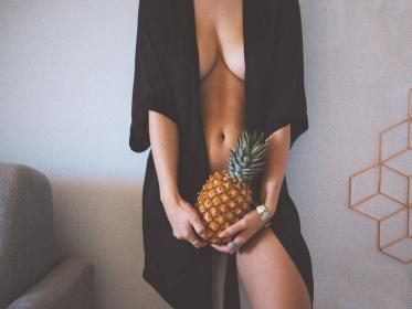 people, woman, girl, sexy, model, pineapple, fruit, food, beauty