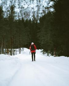 snow, winter, white, cold, weather, ice, trees, plants, nature, people, man, bonnet, jacket, travel, adventure, trek