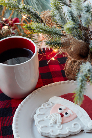 christmas,  santa,  cookies,  coffee,  festive,  plate,  holiday,  plaid,  pine,  snack,  baked,  branch,  xmas,  seasonal,  food