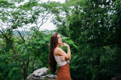 people, girl, woman, long, hair, green, trees, plants, nature, outdoor