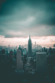 new york,  empire state building,  top of the rock,  summer,  cloudy