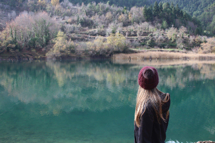 girl, hiker, nature, forest, water, lake, outdoors, blonde, trees, explore, wanderlust, adventure