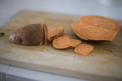 sweet, potato, root, vegetable, food, kitchen, chopping, board, cook