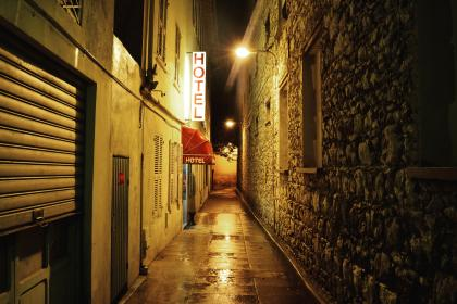 architecture, building, infrastructure, signage, hotel, alley, light, wall