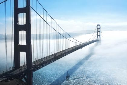 Golden Gate Bridge, San Francisco, bay, architecture, sea, water, sailboat, sunny, fog, sky, clouds