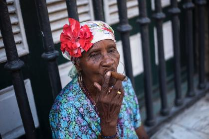 people, old, woman, grandmother, tobacco, flower