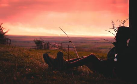sky, clouds, sunset, people, man, rest, relax, outdoor, adventure, travel, highland, landscape, mountain, hiking, green, grass, nature, dark