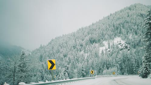 mountain, landscape, peak, summit, snow, trees, pines, view, aesthetic, rocks, fog, sky, clouds, road, arrow, lane