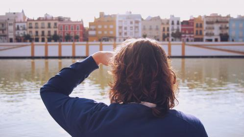 Seville, Spain, city, town, river, water, tourist, people, looking