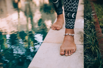 walking,  feet,  water,  legs,  toes,  ankle,  jewelry,  anklet,  close up,  outdoors,  nature,  person,  foot, woman