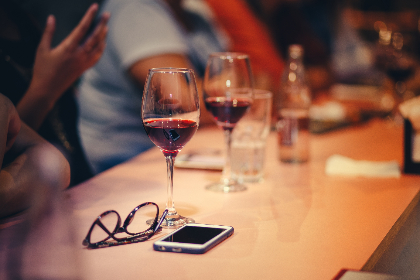 glass,  red wine,  table,  spectacles,  mobile device,  people,  woman,  man,  friends,  family,  group,  meet,  chat,  talk