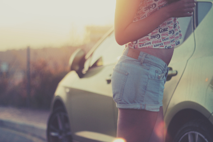 woman,  jeans,  short,  car,  vehicle,  girl,  female,  people,  tan,  sun,  summer,  day