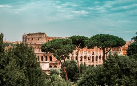 nature, landscape, trees, green, leaves, clouds, sky, architecture, building, establishment, windows, colosseum