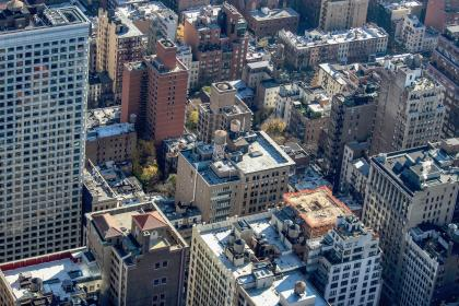 buildings, city, urban, architecture, skyscrapers, trees, aerial