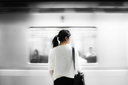 subway, metro, station, transportation, girl, woman, people, ponytail