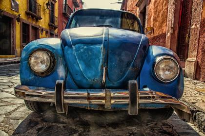 technology, transportation, car, wheels, head, lights, fender, beetle, volkswagen, hdr, architecture, buildings, city, street, cobblestones, sidewalk, residential