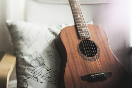 home, house, interior, design, living, bedroom, comfortable, chair, wood, contemporary, graphic, pillow, guitar, music, bokeh, still, white, brown