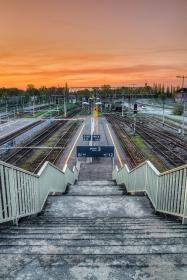 railway, track, outdoor, travel, station, sunset, sky, stairs, stoplight