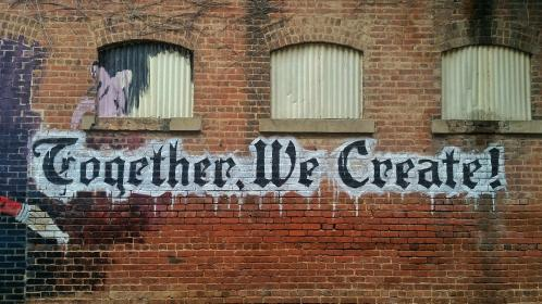 quotes, excerpts, writing, airbrushed, paint, wall, grafitti, vandalism, together we create, typography, bricks, walls, still