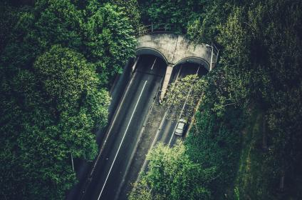 highway, road, cards, driving, tunnel, bridge, trees, green, nature, leaves