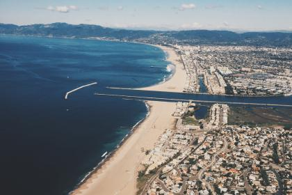 Marina Del Rey, California, aerial, view, beach, sand, shore, coast, ocean, sea, water, city, houses