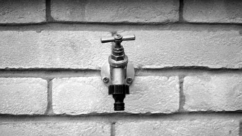 bricks, faucet, grayscale, black and white, monochrome, grayscale