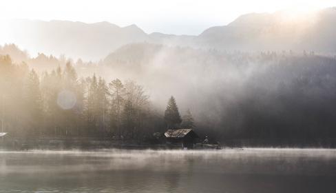 water, lake, river, liquid, fog, sky, house, people, man, rural, forest, plants, trees, pine, grass, swimming, fence, vehicle, car, fish, net, post, light, mountain