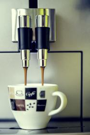 espresso, machine, coffee, drink, white, cup, hand, cafe, steel, metal, electronic, modern, technology, appliances