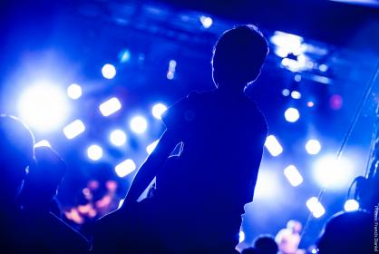 people, man, boy, child, artist, concert, stage, crowd, spotlight, lights, sound, music, night, dark, back, party