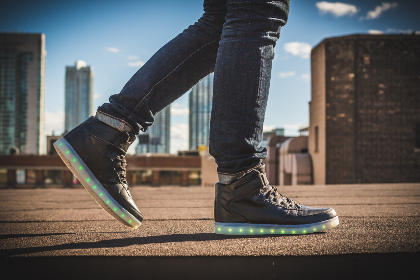 sneakers,   lights,   urban,   street,   walk,   run,   fashion,   feet,   footwear,   illuminated,   person,   shoes,   sneakers,   wear,   man,   male