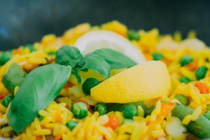 paella, rice, peas, lemon, food, healthy, vegetables