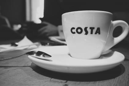 coffee, hot, drink, espresso, cup, saucer, spoon, costa, coffeehouse, coffeeshop, black and white