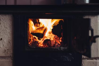 old, stove, hot, fire, flame, firewood