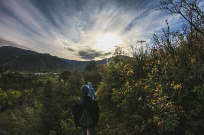 nature, travel, adventure, friends, group, people, man, vacation, mountain, hill, rocks, trees, happy, mountaineer, climb, sunshine, sunlight, clouds, sky