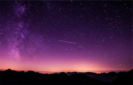 purple, sky, dusk, shooting star, stars, silhouette, galaxy