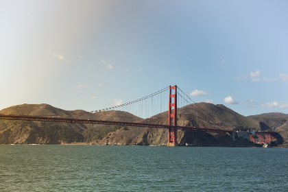 golden gate,  bridge,  san fransico,  usa,  sea,  ocean,  water,  travel,  red,  mountain,  blue sky,  landscape,  steel,  structure