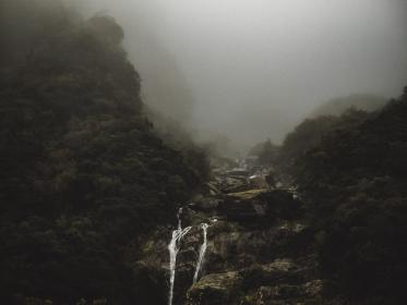 waterfalls, rocks, hill, mountain, highland, foggy, landscape, nature, valley, trees, plants, outdoor, forests