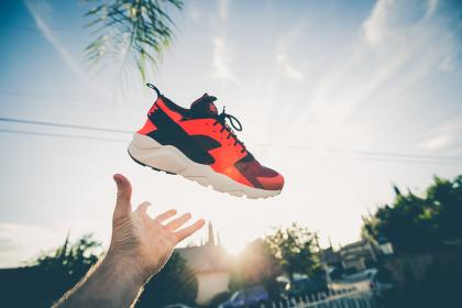 shoes, sunshine, sunlight, sunrise, sunset, hand, trees, house, village, subdivision, Nike, clouds, sky
