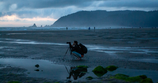 beach, photographer, ocean, morning, mist, clouds, weather, nature, outdoors, camera, travel, trip